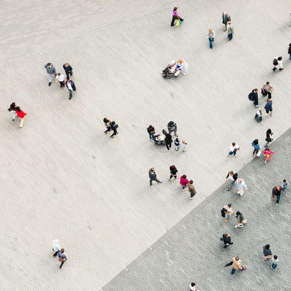 Down view of pedestrians