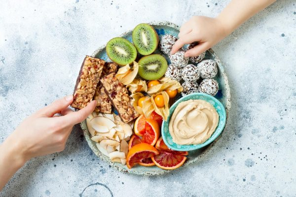 fruits and vegetables with hummus